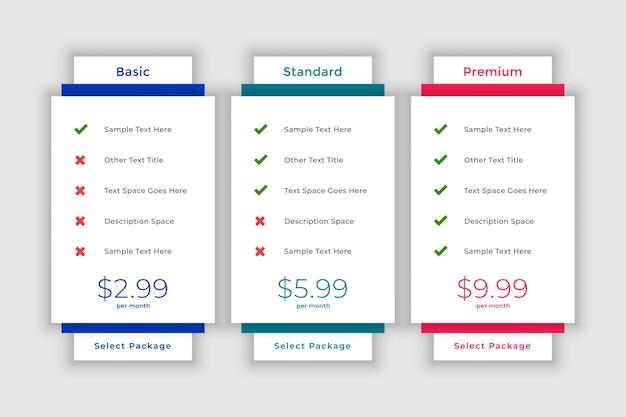 Modèle de tableau de comparaison de prix web moderne