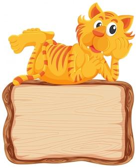 Modèle de tableau avec mignon tigre sur fond blanc