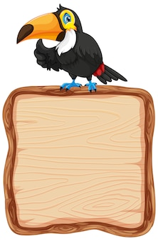 Modèle de tableau avec mignon toucan sur fond blanc