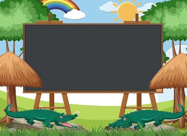 Modèle de tableau noir avec des crocodiles dans le parc