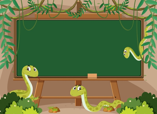 Modèle de tableau noir avec des serpents hochets dans le jardin