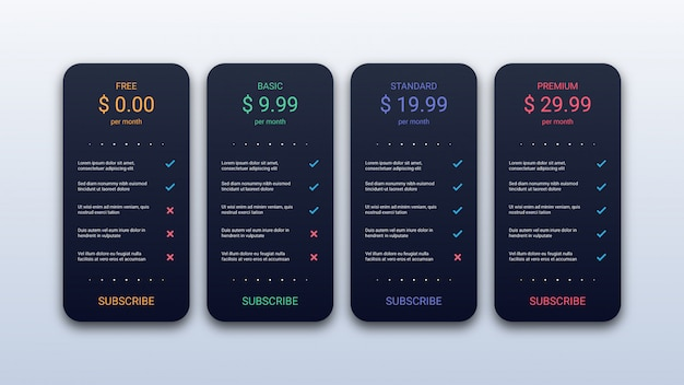 Modèle de tableau de prix simple pour site web et application