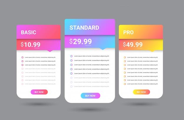 Modèle de tableau de prix