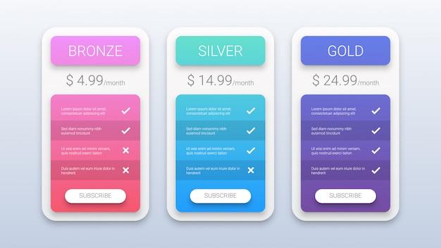 Modèle de tableau de tarification coloré moderne