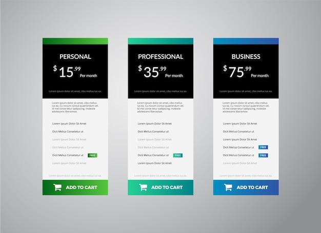 Modèle de tableau de tarification propre modèle de conception d'illustration