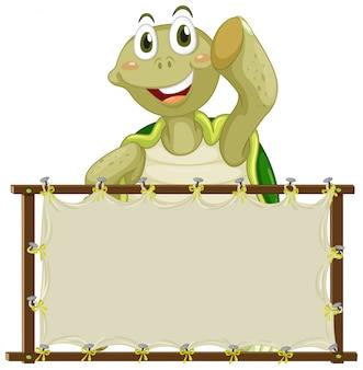 Modèle de tableau avec tortue mignonne sur fond blanc