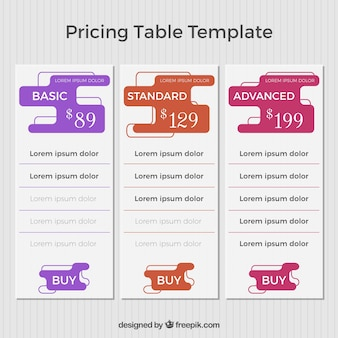 Modèle de tableaux de prix avec des boutons de couleur