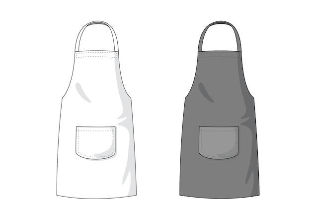 Modèle de tablier vide blanc et noir.