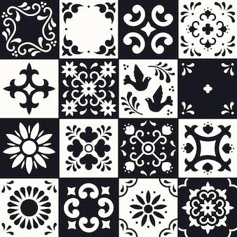Modèle de talavera mexicain. tuiles ornements de style traditionnel de puebla. mosaïque florale du mexique