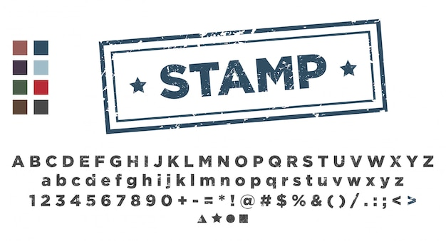 Modèle de tampon. estampage de polices alphabet.