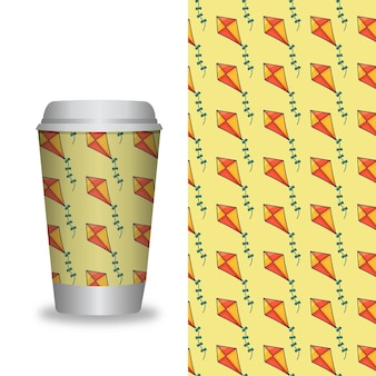 Modèle de tasse à café avec motifs
