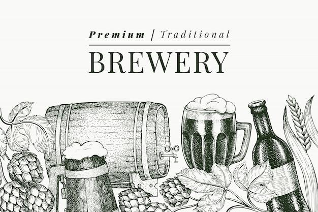 Modèle de tasse et hop de verre à bière. illustration de boisson de pub dessiné à la main. style gravé. illustration de brasserie rétro.