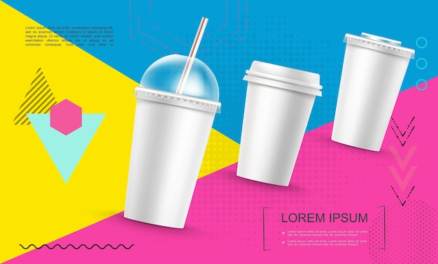 Modèle de tasses de restauration rapide en papier réaliste pour milkshake de café soda sur illustration géométrique colorée à la mode