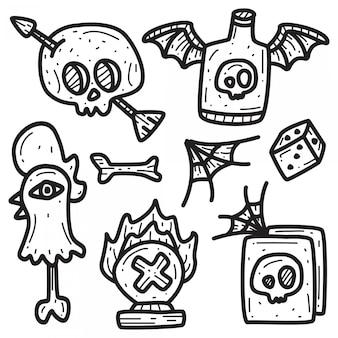 Modèle de tatouage de dessin animé doodle