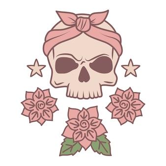 Modèle de tatouage mignon crâne et fleurs