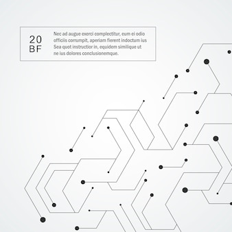 Modèle technologique hexagonal. composition de connexion moléculaire