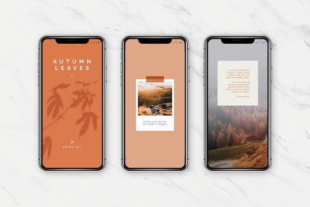 Modèle de téléphone portable de blog de médias sociaux de couleur d'automne