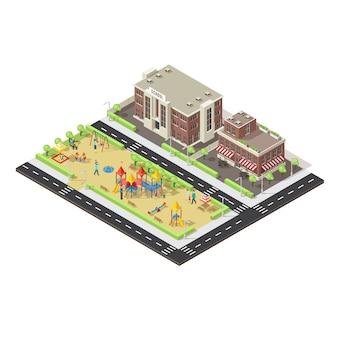 Modèle de terrain de jeu pour enfants de ville isométrique