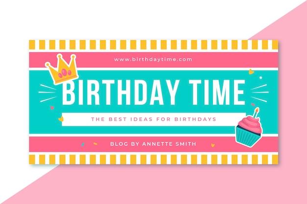 Modèle d'en-tête de blog d'anniversaire de grille
