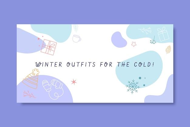 Modèle d'en-tête de blog de dessin d'hiver coloré de doodle