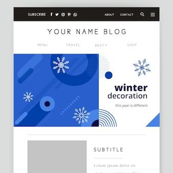 Modèle d'en-tête de blog d'hiver de couleur unique géométrique