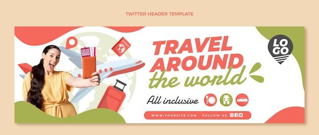 Modèle d'en-tête twitter de voyage plat