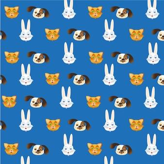Modèle de têtes d'animal de compagnie isolé sur fond bleu