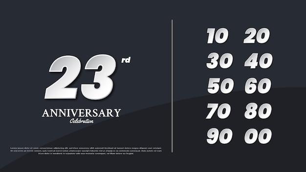 Modèle de texte illustration numéros anniversaire pour la conception de célébration, design minimaliste et simple.