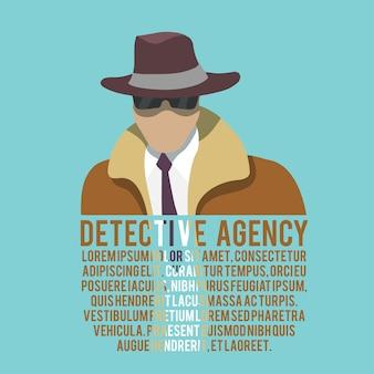 Modèle de texte silhouette détective