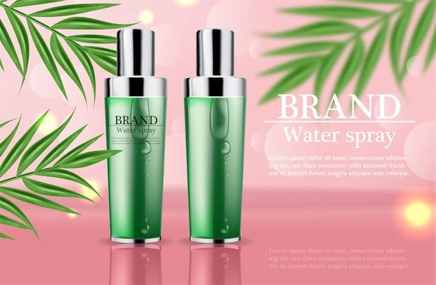 Modèle de texte vert crème et spray cosmétiques