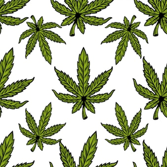 Modèle textile sans couture avec des feuilles de plantes bio bio naturelles de marijuana, de cannabis, de mauvaises herbes, de chanvre cbd oil, de bourgeon de cannabis médical thc. illustration de conception d'impression moderne pour affiche, autocollant, bannière, vêtements.