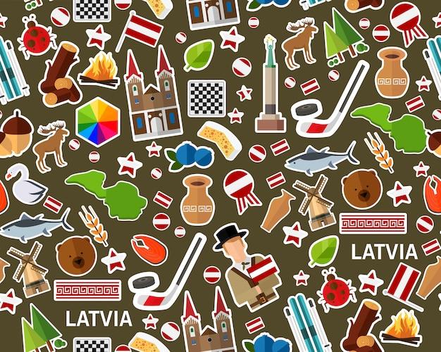 Modèle de texture transparente plane de vecteur lettonie