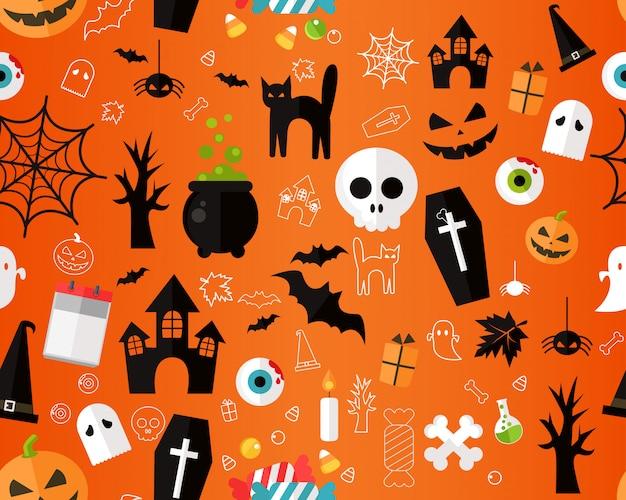 Modèle de texture transparente plat vector halloween heureux.
