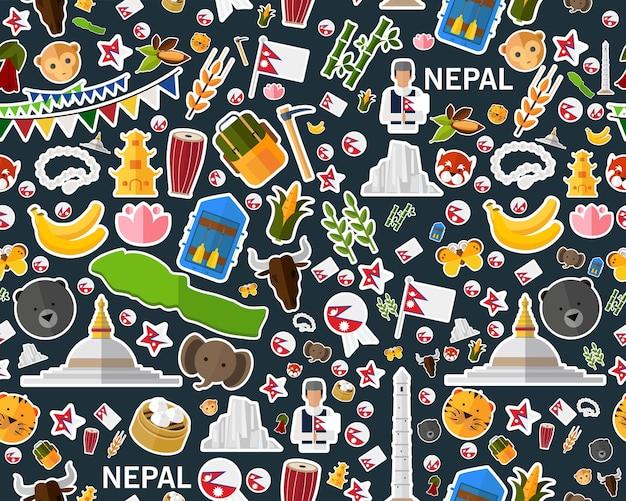 Modèle de texture transparente plat vector népal