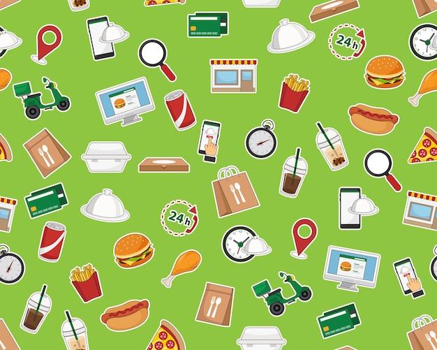 Modèle de texture transparente plate de vecteur livraison de nourriture.