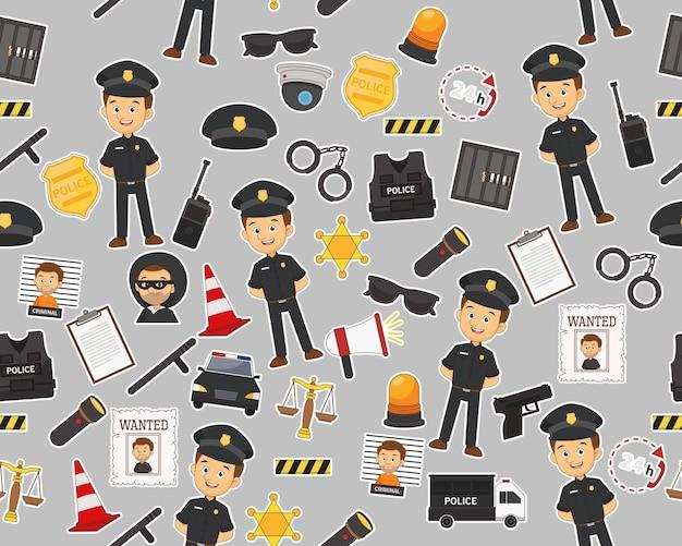 Modèle de texture transparente plate vecteur service de police