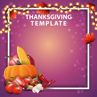 Modèle de thanksgiving avec fond et guirlande, cadre