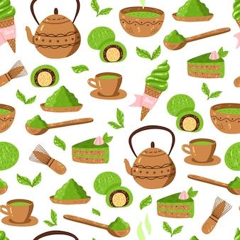 Modèle de thé vert matcha. modèle de culture japonaise sans couture avec poudre de matcha, bol, théière et cupcake. illustration vectorielle. impression de cérémonie de boisson pour tissu, emballage.