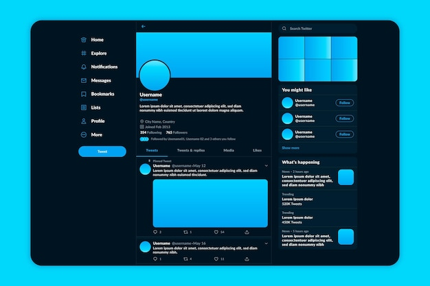Modèle de thème sombre de l'interface twitter