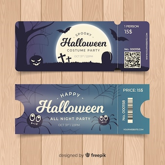 Modèle de ticket de fête halloween coloré dessiné à la main