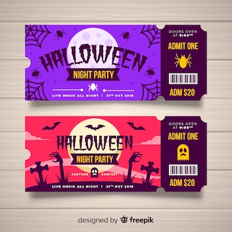 Modèle de ticket de halloween créatif