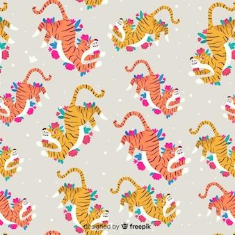 Modèle de tigre sauvage dessiné à la main