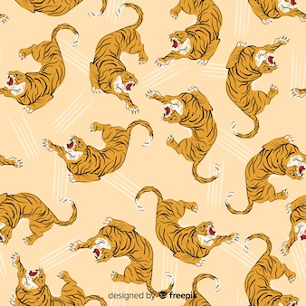 Modèle de tigre vintage dessiné à la main