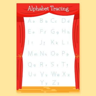 Modèle de traçage de l'alphabet éducatif