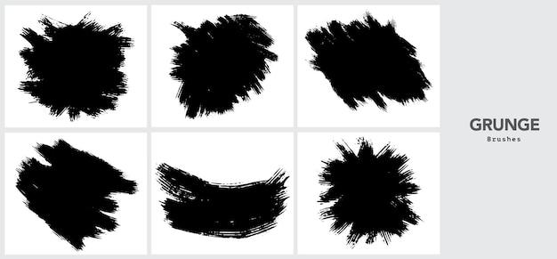 Modèle de trait de pinceau grunge noir