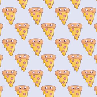 Modèle de tranche de style pizza kawaii délicieux