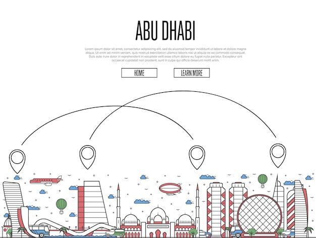 Modèle de transport aérien vers abou dhabi dans un style linéaire