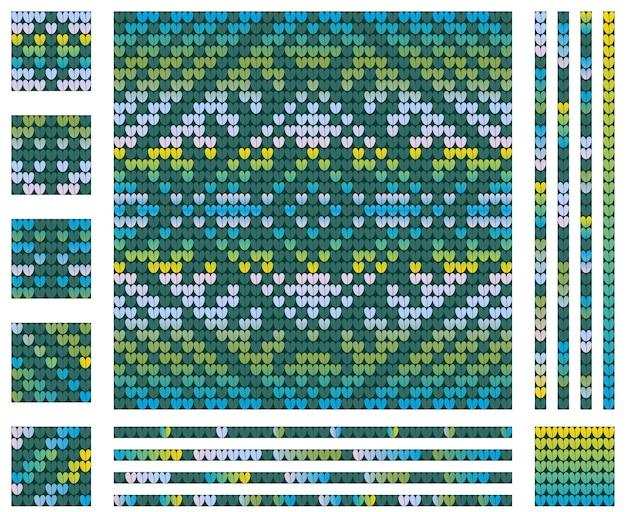 Modèle De Tricot Bleu Vert De Noël Avec Fleur D'hiver, Couleurs Dégradées Vecteur Premium