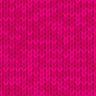Modèle tricoté sans couture. étoffe de laine. motif tricoté rose.