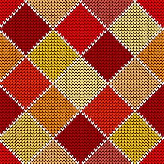 Modèle tricoté sans couture en laine, arlequin coloré